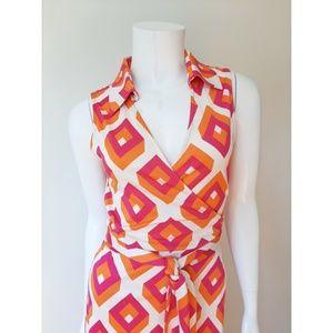 Diane Von Furstenberg Dresses - Diane Von Furstenberg Silk Orange Pink Wrap Dress
